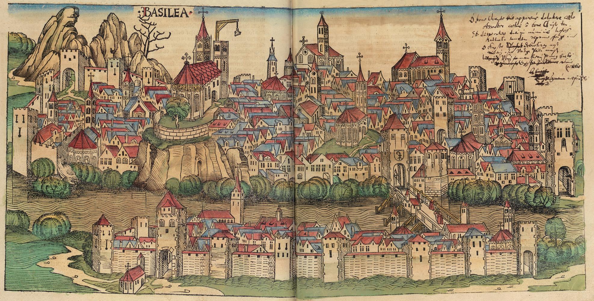 Basel in der Schedelschen Weltchronik 1493 - Quelle: WikiCommons