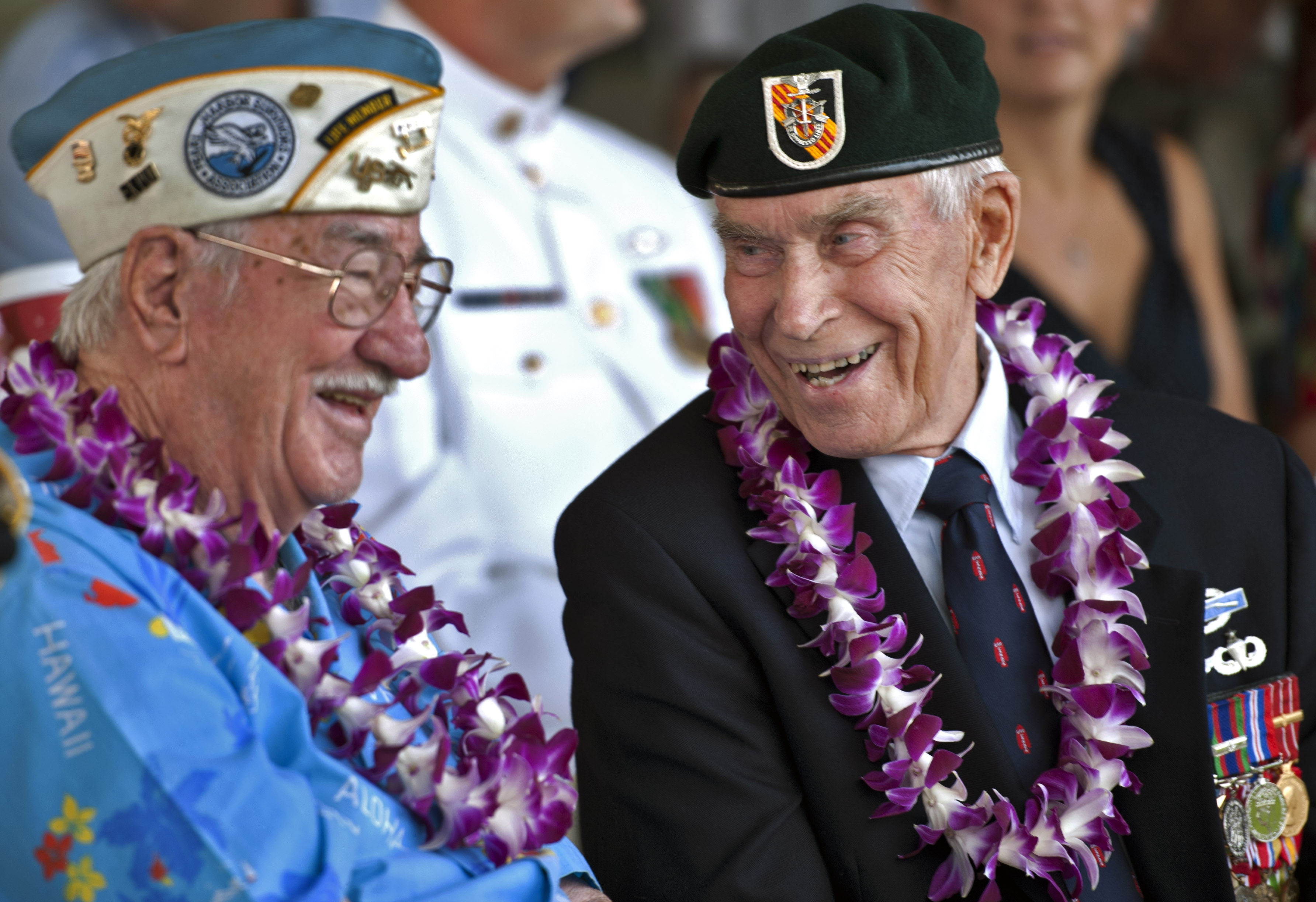 Images Of Pearl Harbor Day >> File:Pearl Harbor survivors Sam Clower, left, and Ab Brum talk during a ceremony commemorating ...
