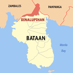 Map of Bataan showing the location of Dinalupihan