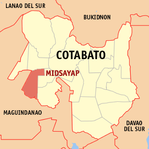 Map of Cotabato showing the location of Midsayap