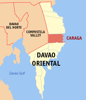 Map of Davao Oriental showing the location of Caraga