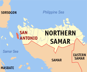 Map of Northern Samar showing the location of San Antonio
