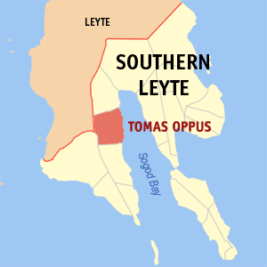 Map of Southern Leyte showing the location of Tomas Oppus