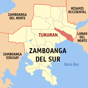 Map of Zamboanga del Sur showing the location of Tukuran