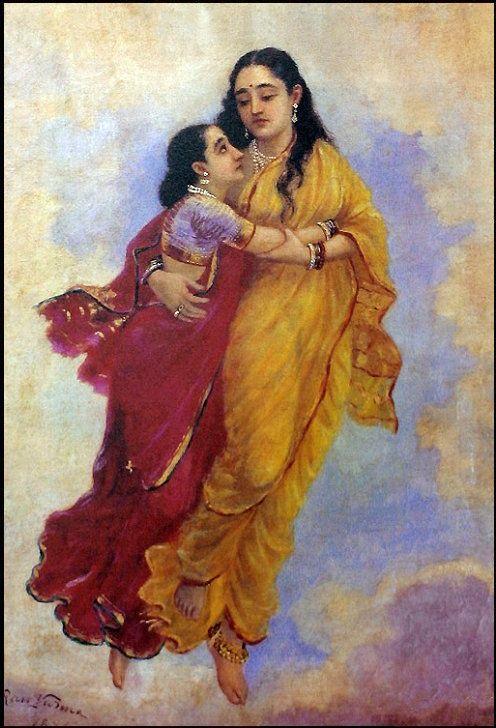 Raja Ravi Varma, Menaka and Sakunthala (1891).jpg
