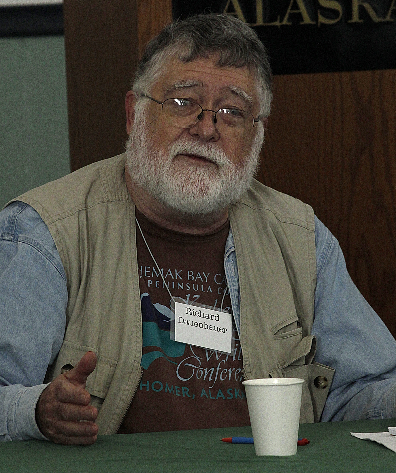 Richard Dauenhauer, less than three months before his death, speaking at a writers' symposium in [[Skagway, Alaska