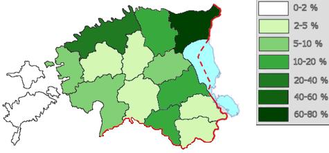Verteilung der russischsprachigen Minderheit in Estland nach dem Zensus aus dem Jahr 2010. Die russischsprachige Wohnbevölkerung konzentriert sich vor allem in der Nähe der Grenze zu Russland in den Industriestädten Kohtla-Järve und Narva sowie im Raum Tallinn. Auf den vorgelagerten Inseln Saaremaa (Ösel), Hiiumaa (Dagö) und Vormsi (Worms) leben dagegen auch heute nur wenige Russen, da diese zu Sowjetzeiten militärisches Sperrgebiet waren.