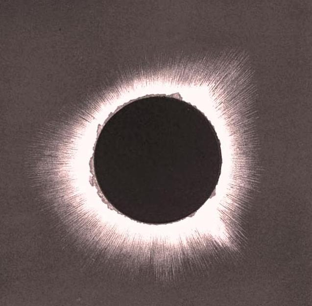 corona of sun during solar eclipse 22 December 1870