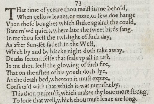 an analysis of shakespeares sonnet nr 73 published in 1609