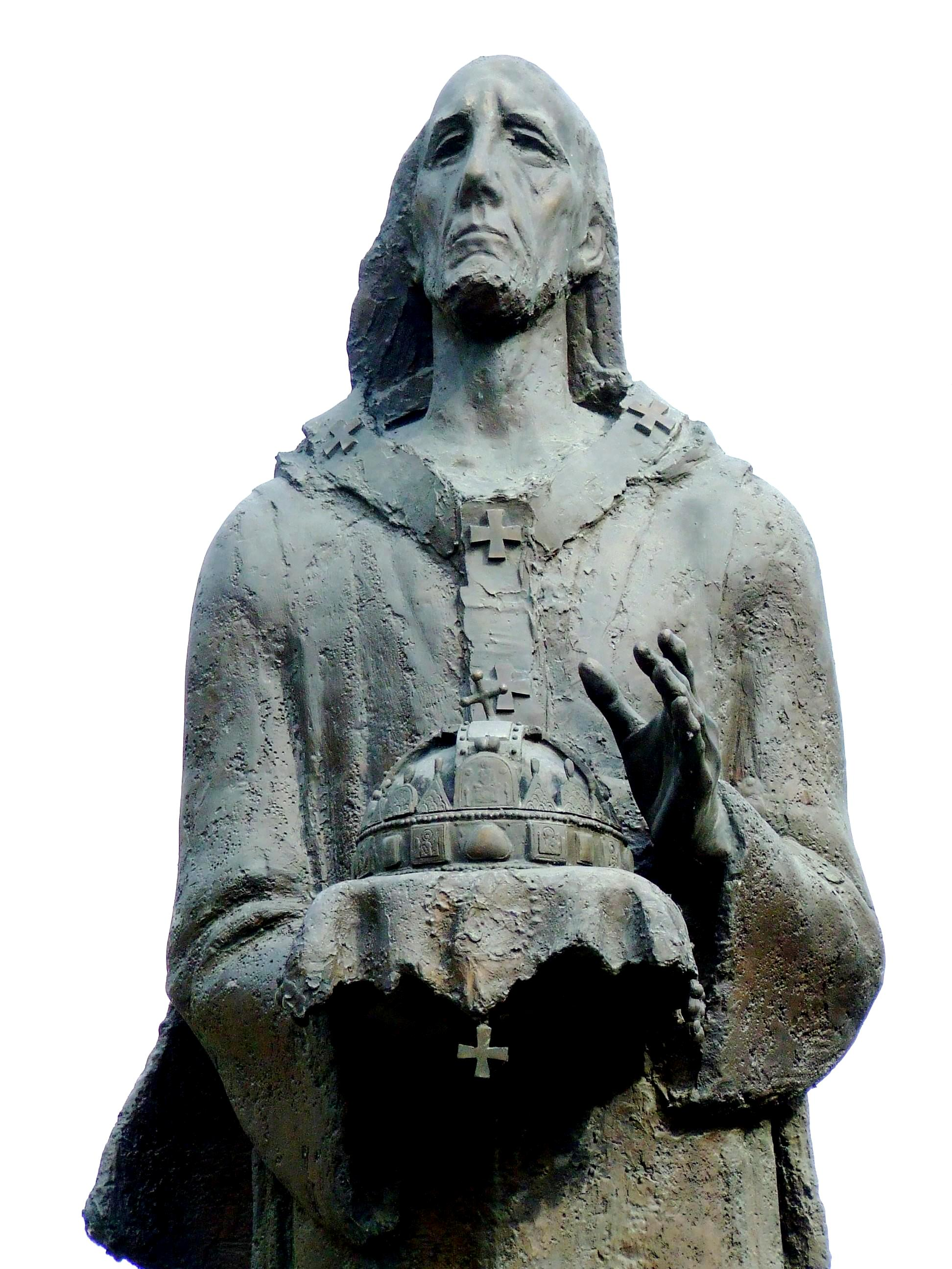 György Benedek (f. 1934): Statue av den hellige Astrik med Stefanskronen i Kalocsa (2000)
