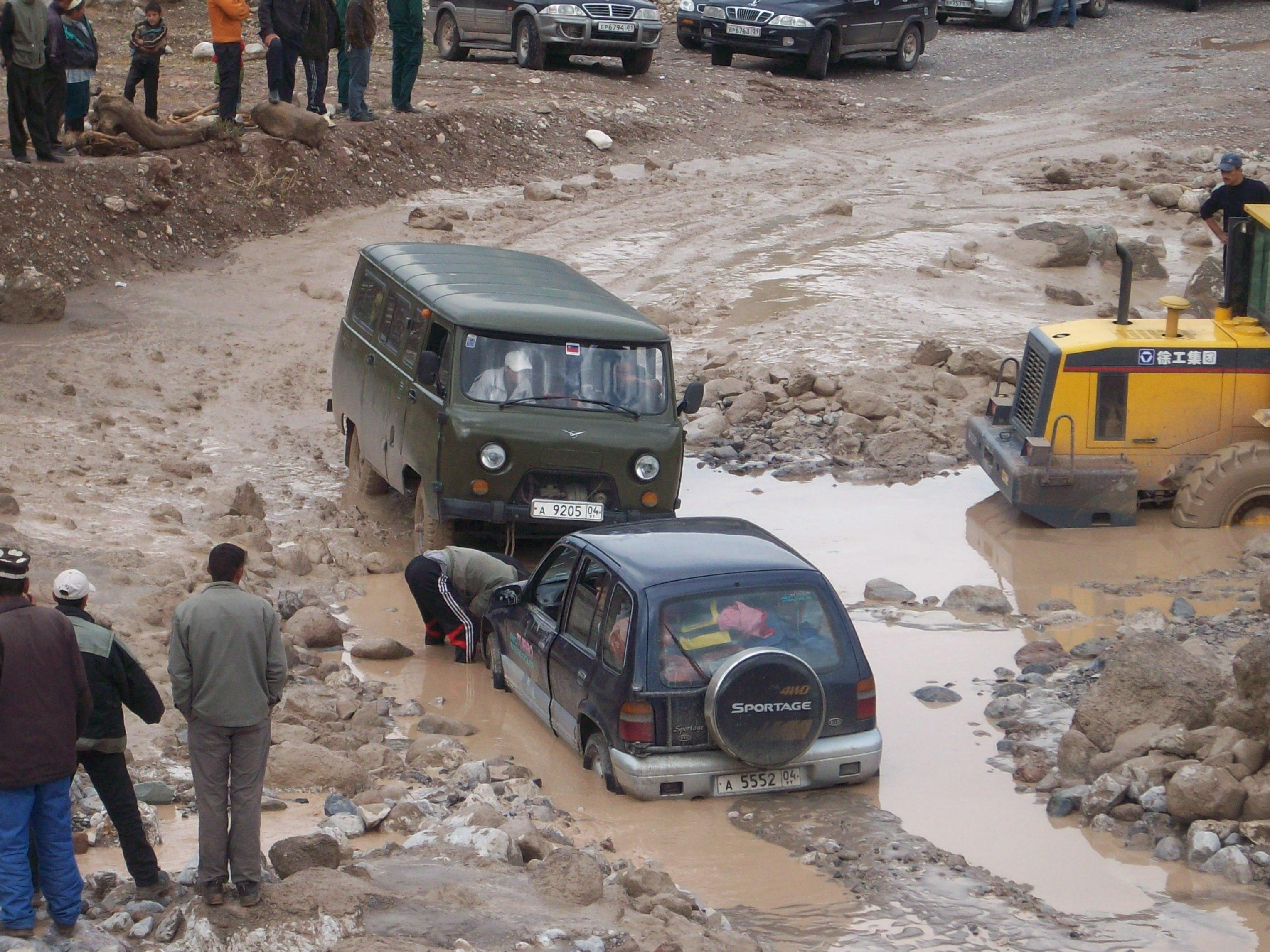 Description Stuck in a river crossing in Darvoz, Tajikistan.jpg