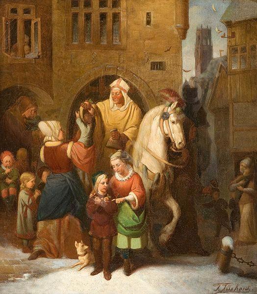 Tüshaus Der hl Nikolaus verteilt seine Gaben 1863.jpg