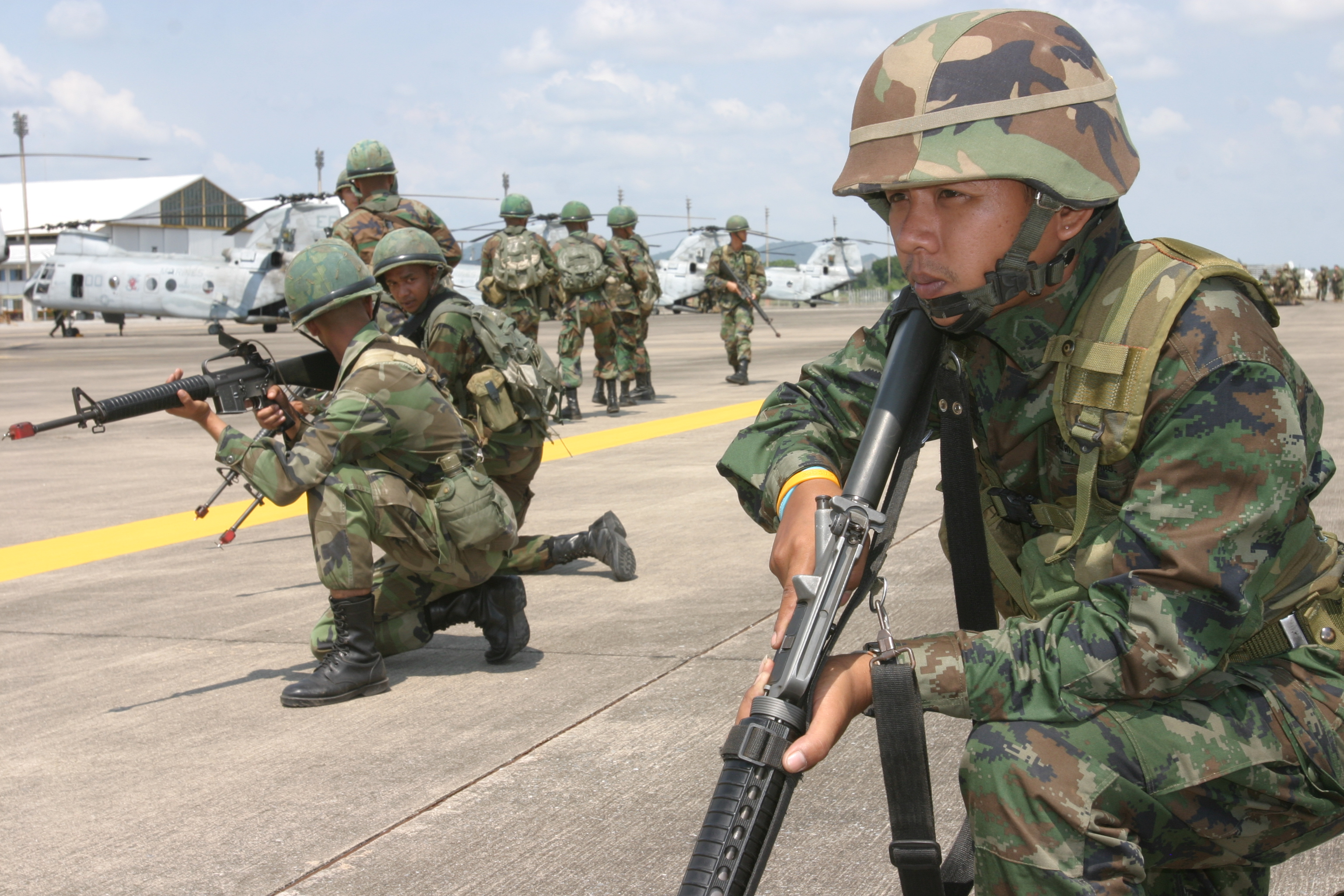 File:Thai Marines at U-Tapao Royal Thai Navy Airfield during