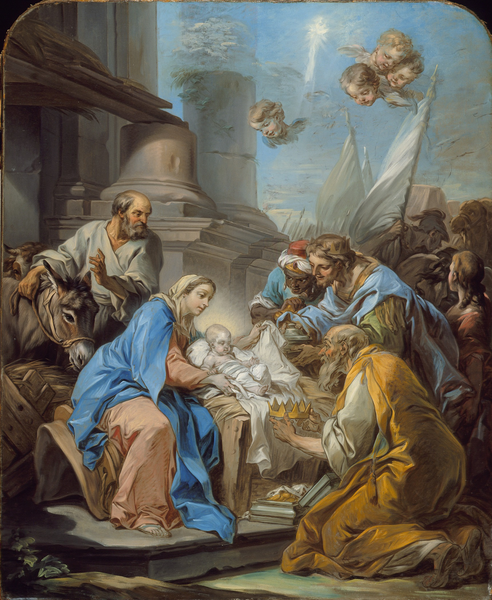 "the depiction of the birth of baby jesus in adoration of the magi by di nardo Iconographical analysis: di nardo, ""adoration of the magi"" the painting ""adoration of the magi"" by di nardo portrays the three magi approaching the baby jesus."