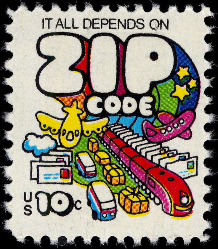 "USA postage stamp, 1973: ""It all depends on ZIP code"".]"