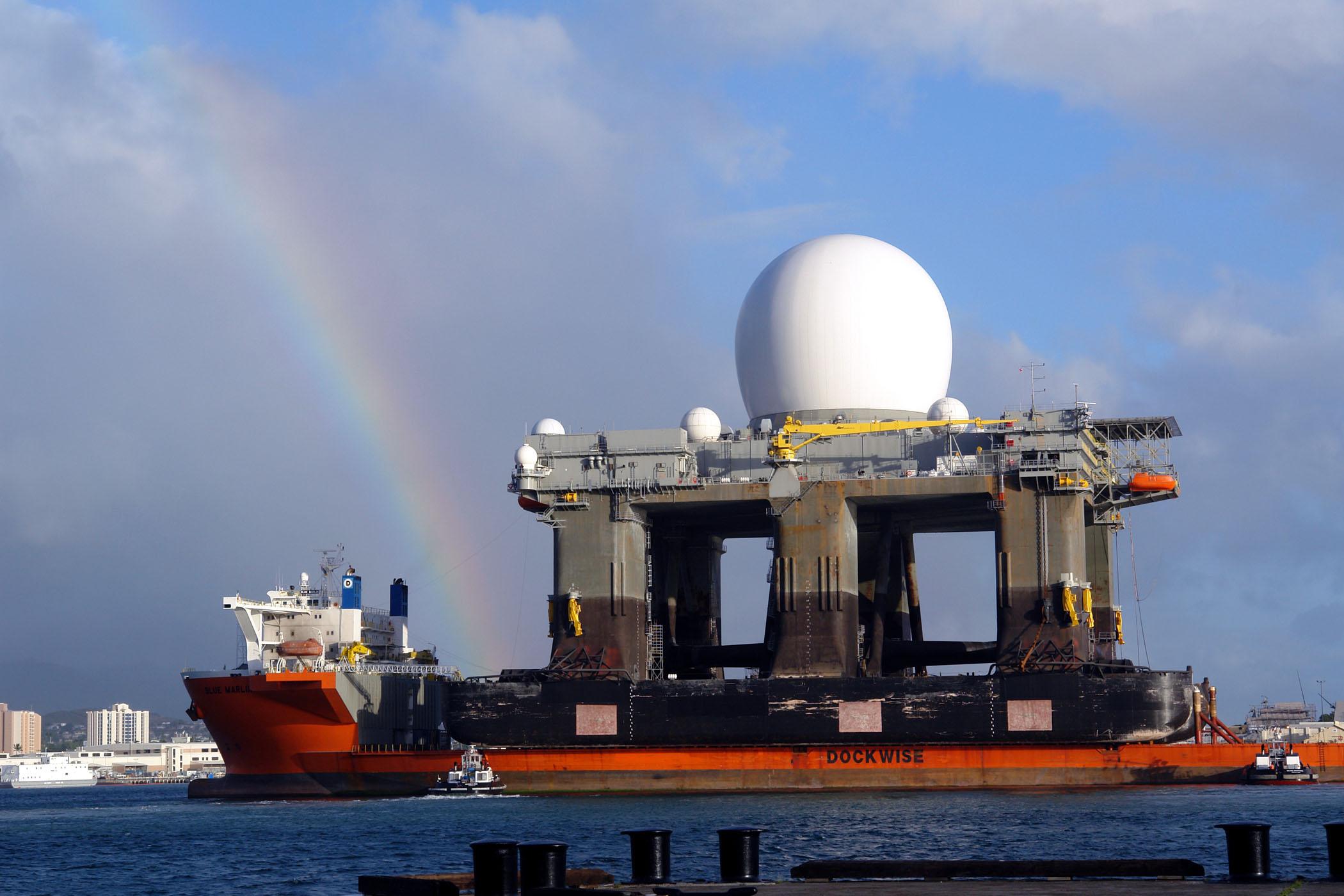 Pearl harbor hawaii with the sea based x band radar sbx aboard jpg