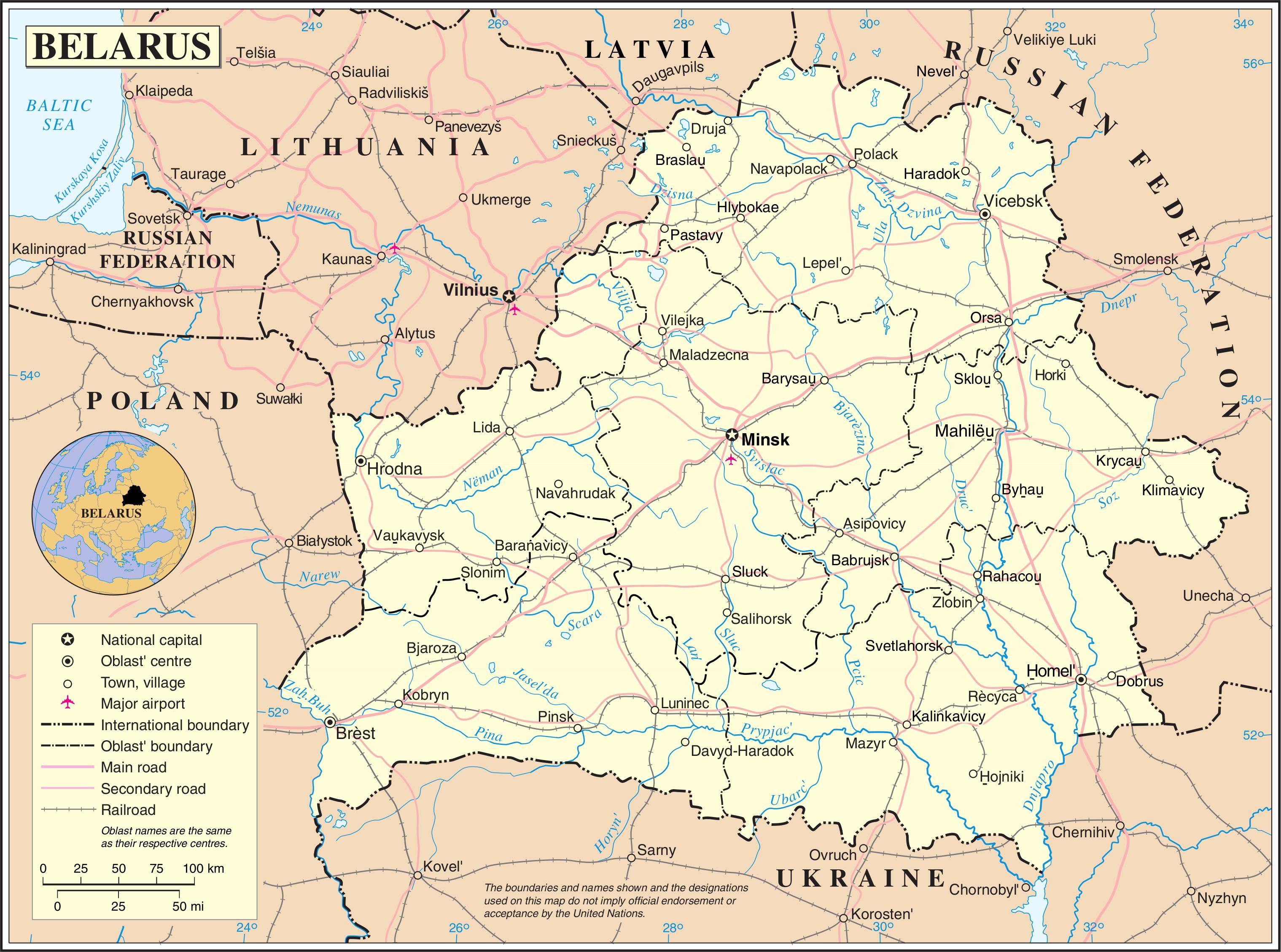 Map Of Minsk Belarus In English