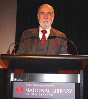 Cerf speaking at the National Library of New Z...
