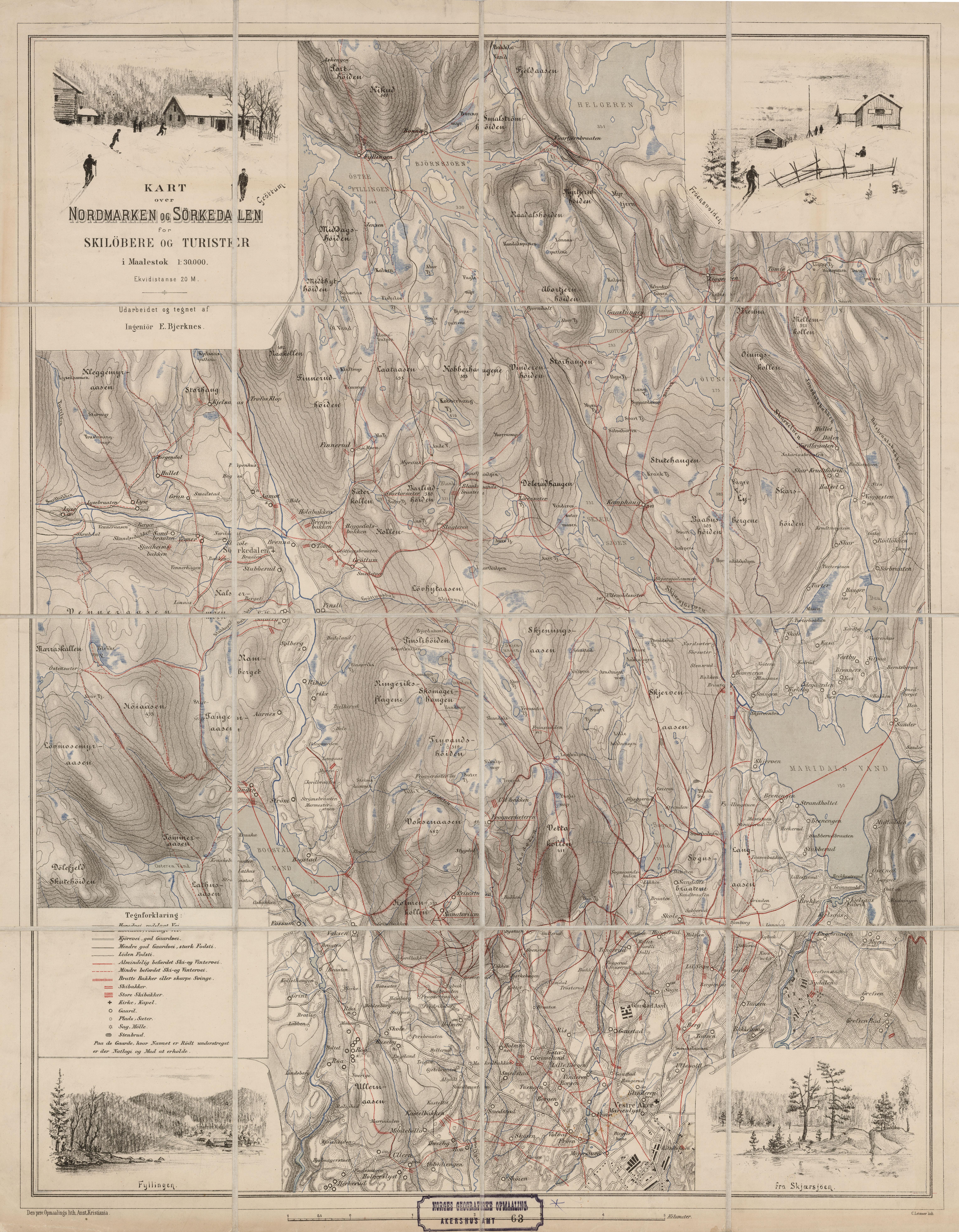 kart sørkedalen File:Akershus amt nr 63  Kart over Nordmarken og Sørkedalen, 1890  kart sørkedalen