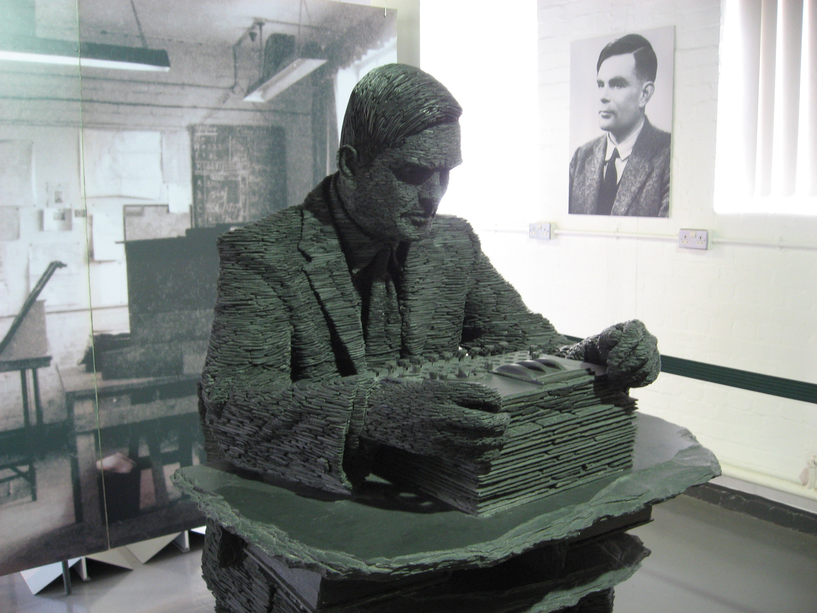 Alan Turing in slate at Bletchley Park