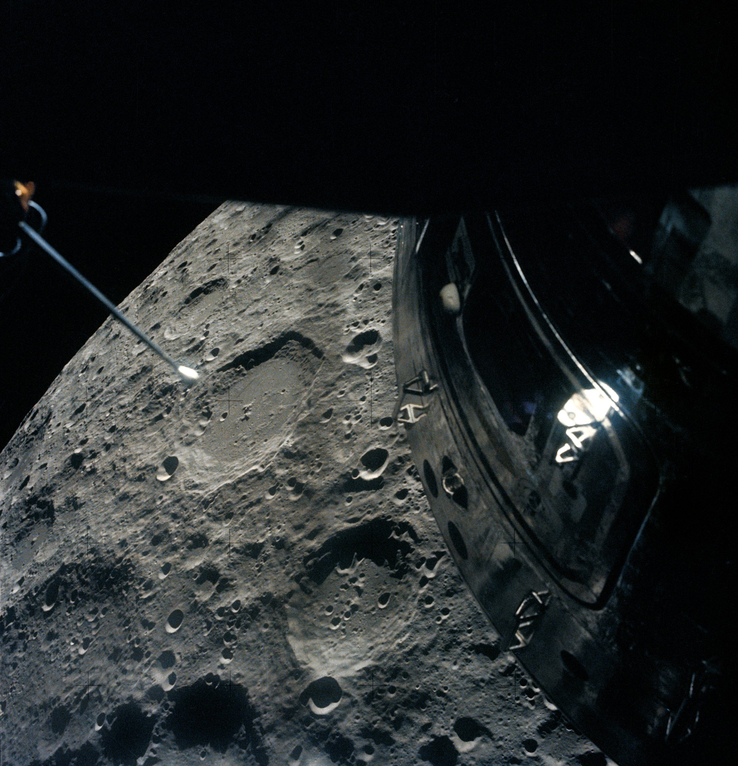 The moon as photographed by the Apollo 13 crew from their ...