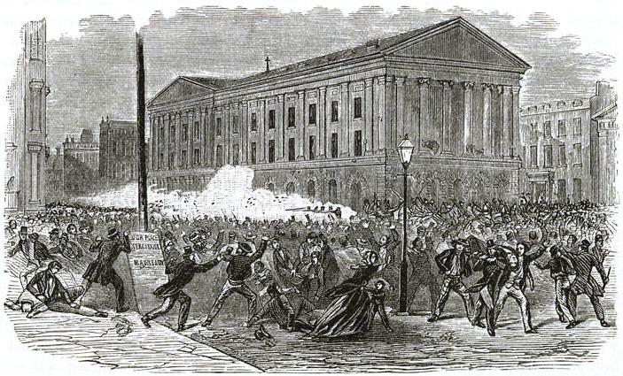 Depiction of a Riot in New York, 19th Century