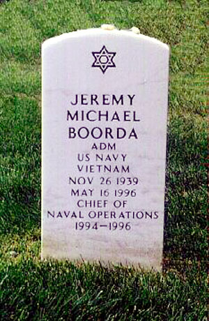 Boorda's headstone at Arlington National Cemetery located at Section 64, Grave 7101, Grid MM-17 Boordajeremy.jpg