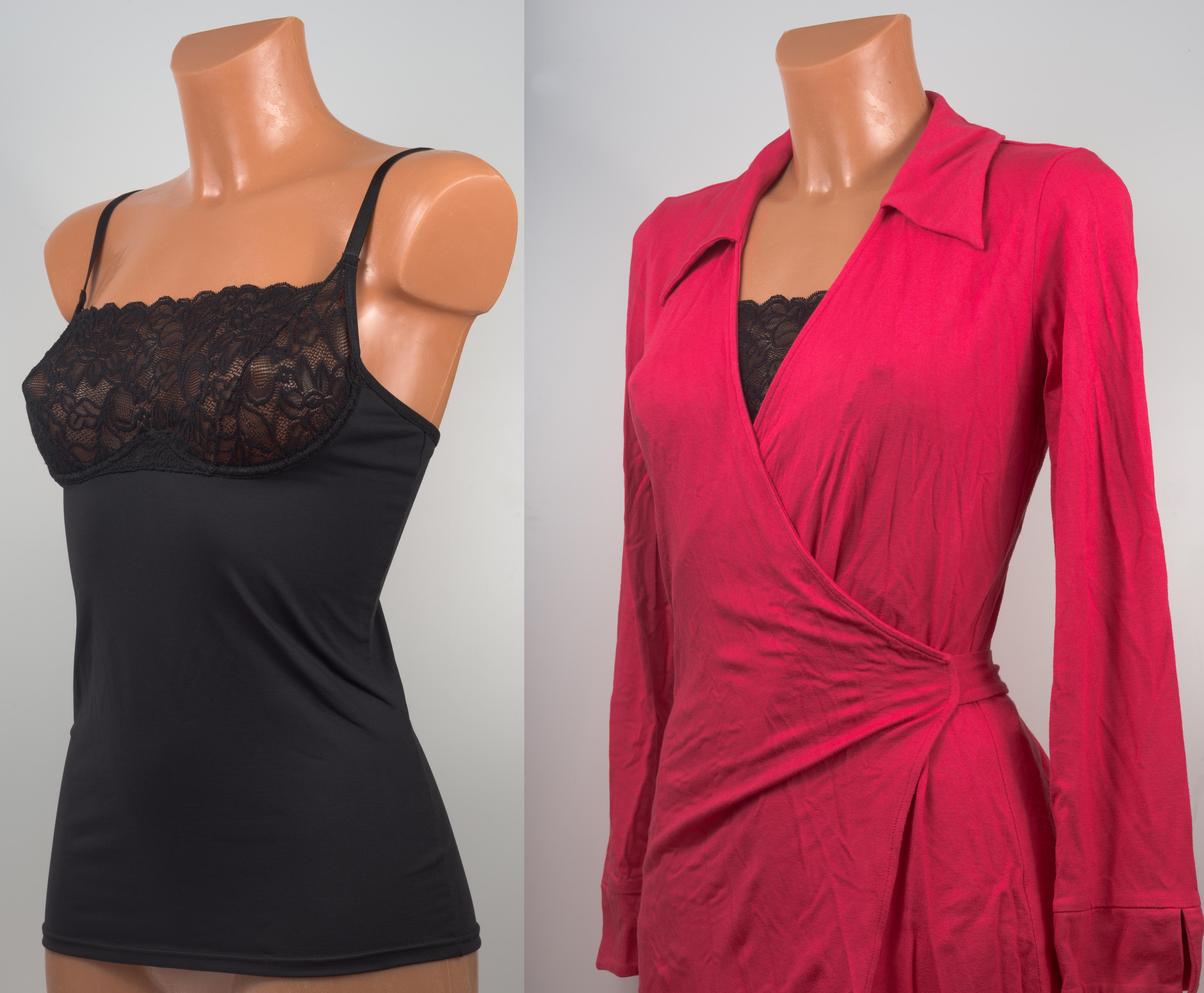 A black rayon bra shirt and a fuchsia wrap dress