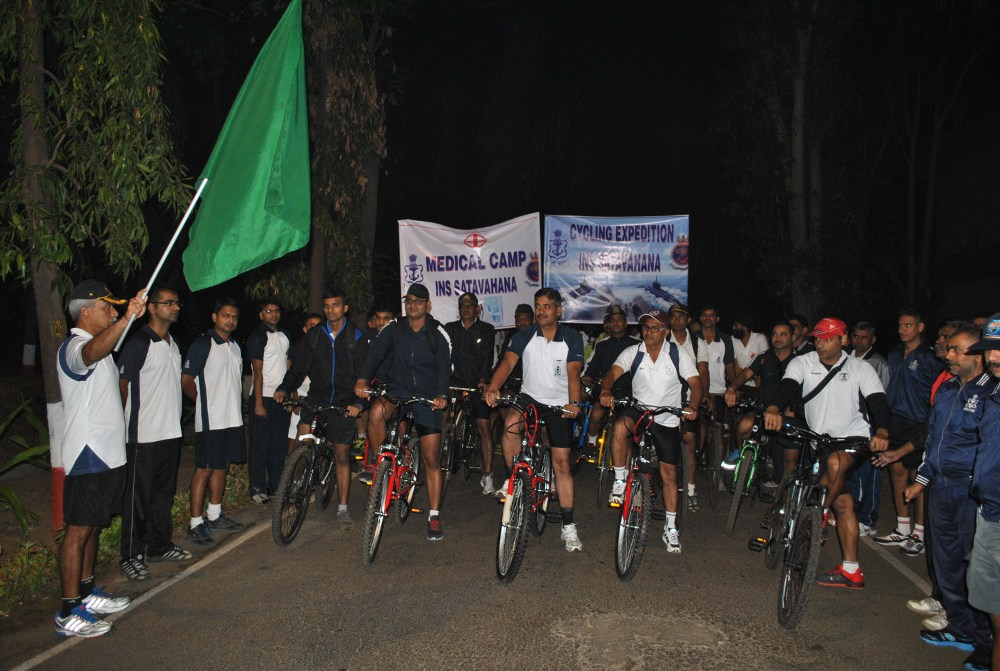 File:Commodore A  Srinivas, CO of INS Satavahana, flags of a cycling