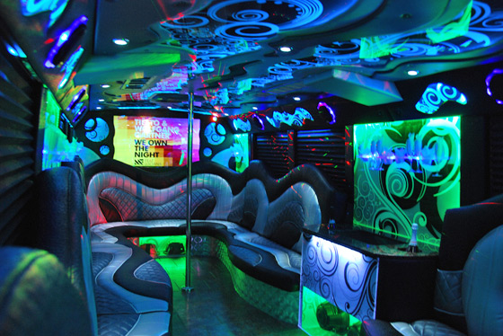 Contemporary party bus interior 2013