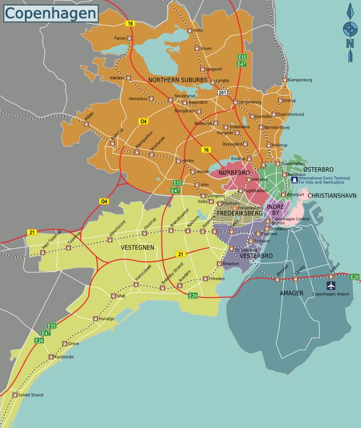 Carte des quartiers de Copenhague au Danemark.