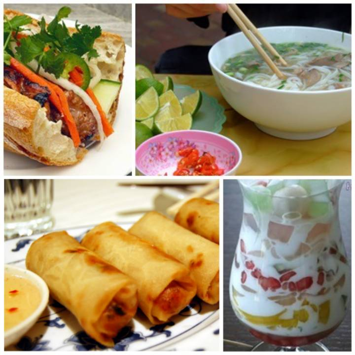 Some of the notable Vietnamese cuisine, clockwise from top-right: phở noodle, chè thái fruit dessert, chả giò spring roll and bánh mì sandwich.