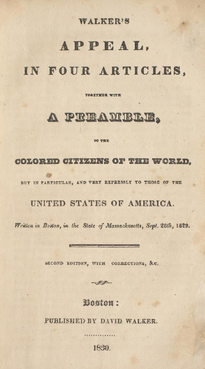 Title page of the 1830 edition of Walker's Appeal ... to the Coloured Citizens of the World