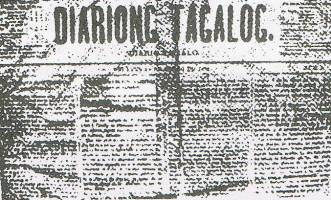 Diariong Tagalog (Tagalog Newspaper), the first bilingual newspaper in the Philippines founded in 1882 written in both Tagalog and Spanish. Diariong Tagalog.jpg