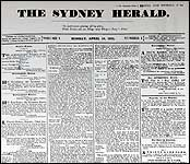 The cover of the newspaper's first edition, on 18 April 1831 First smh cover.jpg