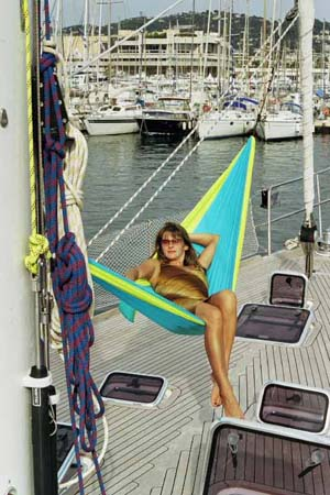 The picture is of a parachute silk hammock on ...