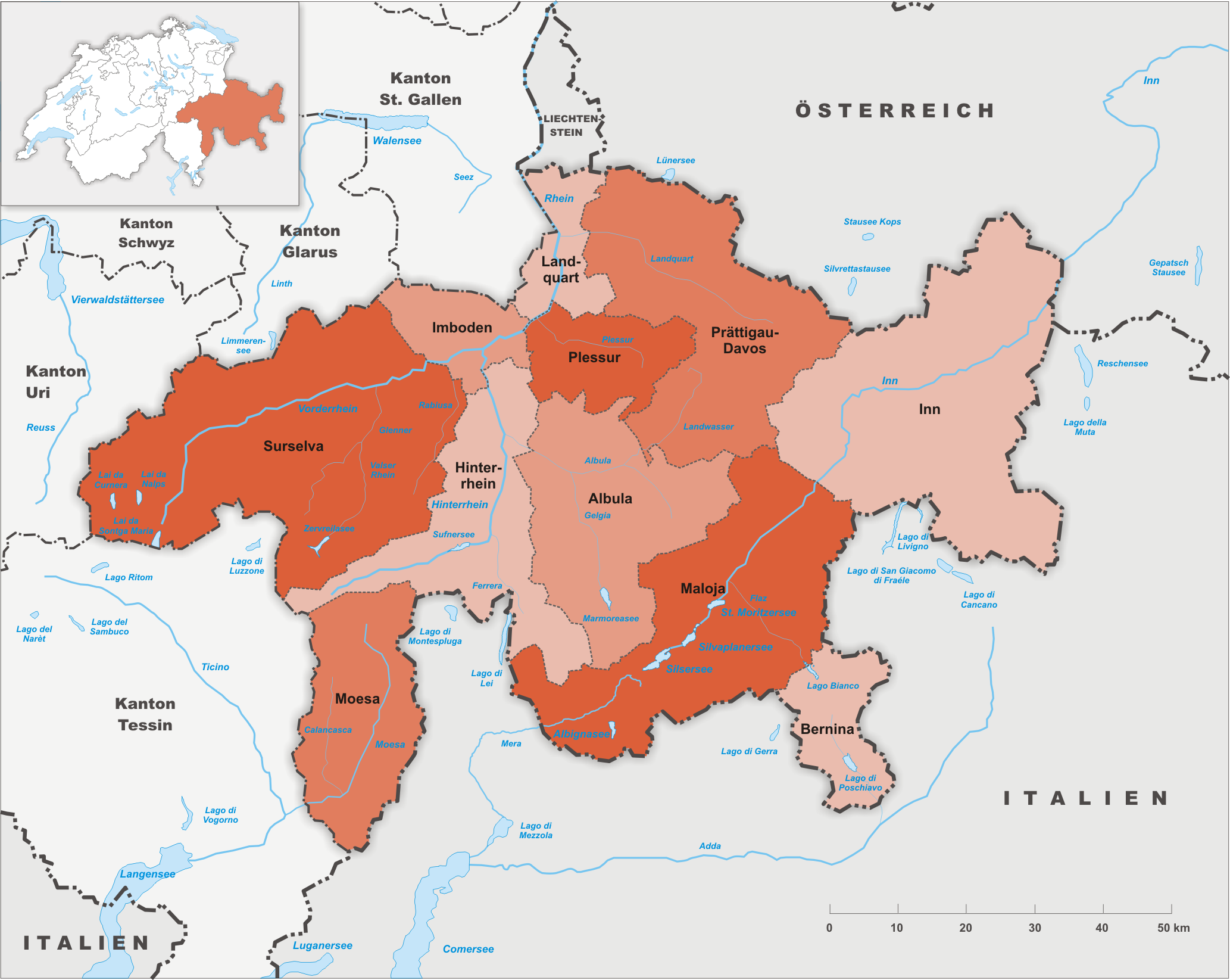 Bezirke des Kantons Graubünden