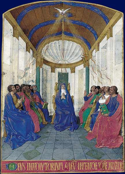Nella foto: La Pentecoste, Libro d'Ore di Étienne Chevalier, miniato da Jean Fouquet, Museo Condé, Chantilly.