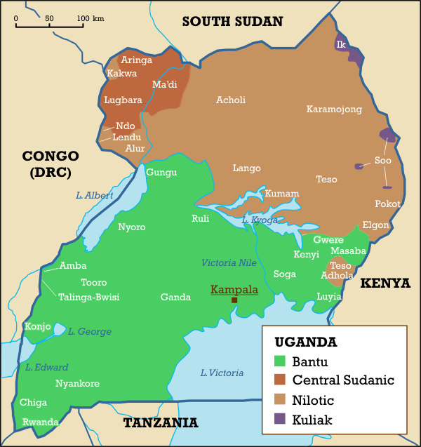 physical map of uganda. Ethnolinguistic map of Uganda.
