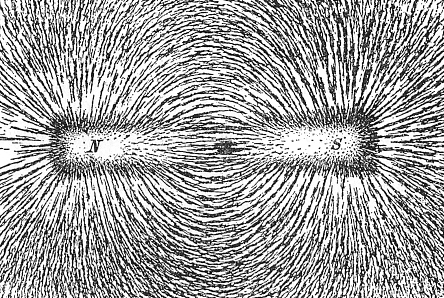 The direction of magnetic field lines represented by the alignment of iron filings sprinkled on paper placed above a bar magnet