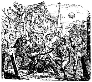 an 18th century illustration of mob football - History of Soccer