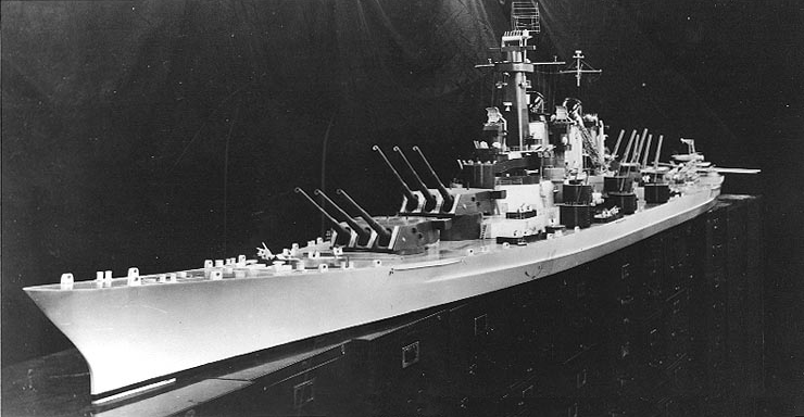 A scale model depicting what the Montana class would have looked like had they been completed