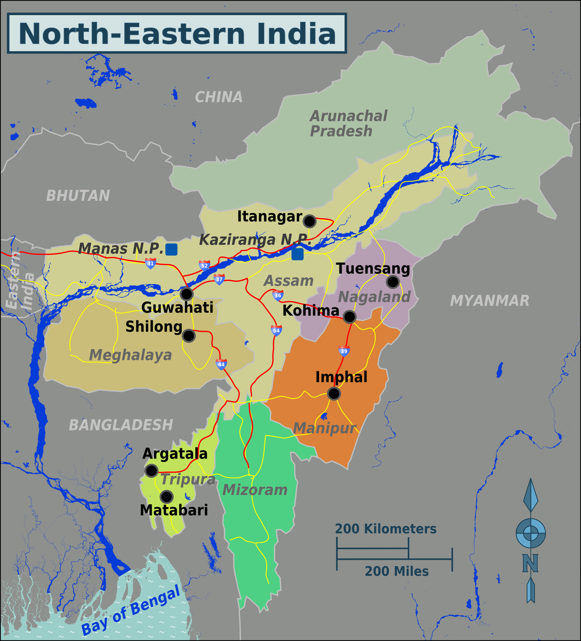 Map Of North East North Eastern India – Travel guide at Wikivoyage
