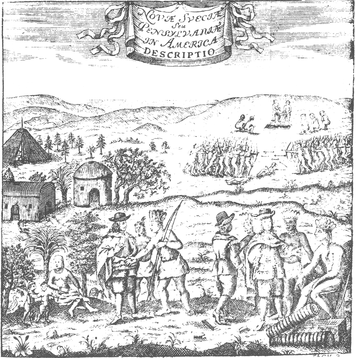 New Sweden - encounter between Swedish colonists and the natives of Delaware.