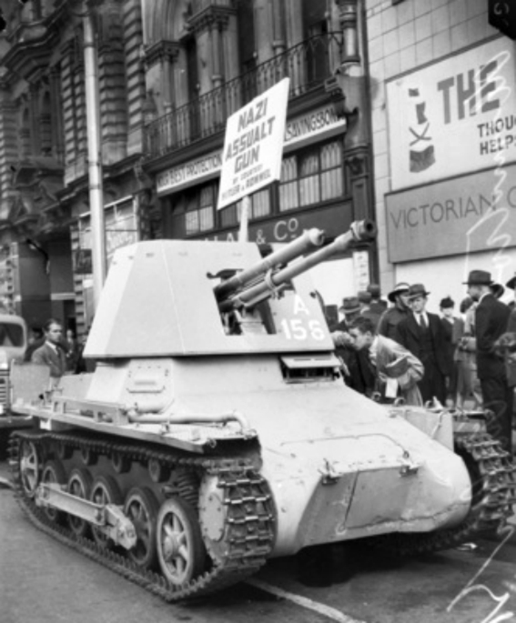 A captured Panzerjäger I on display on Collins Street, Melbourne