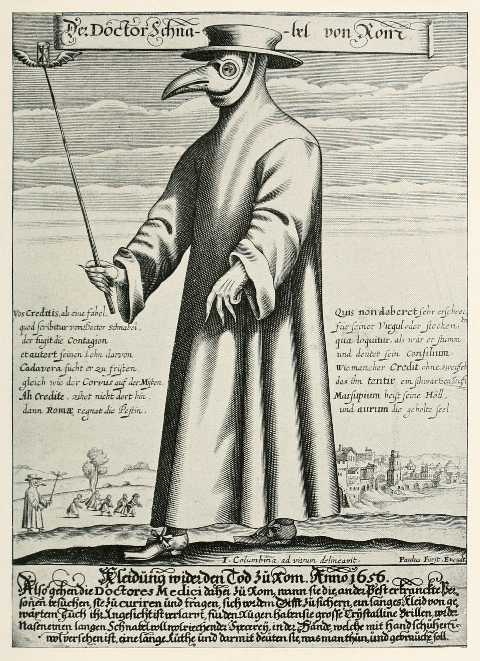 An image of a plague doctor wearing the traditional coat, mask, and hat.