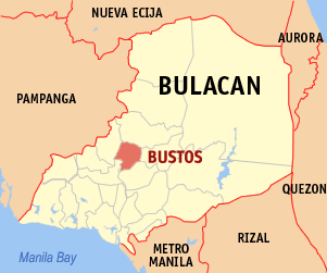 Map of Bulacan showing the location of Bustos