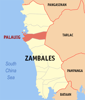 Map of Zambales showing the location of Palauig