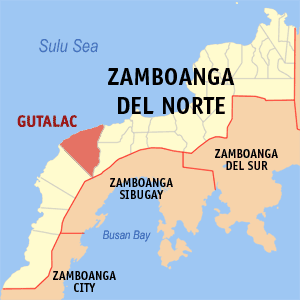 Map of Zamboanga del Norte showing the location of Gutalac
