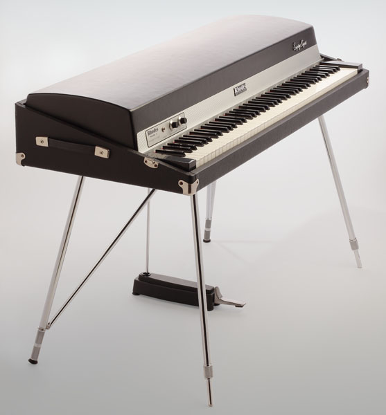 Rhodes piano — a silver, electronic keyboard with a single pedal on thin metal legs.